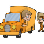 Delivery truck cartoon for delivery and returns